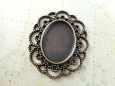 12 Antique Copper Cabochon Setting Pendant Blanks Findings 63380