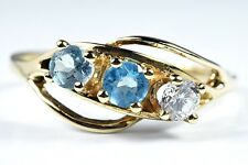 Women's Natural Blue Topaz .65 ct 14k Solid Yellow Gold 3 Stone Ring