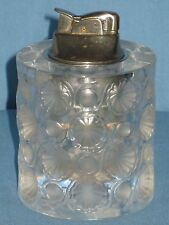VINTAGE EVANS TABLE LIGHTER in LALIQUE GLASS HOLDER TOKYO PATTERN FRANCE