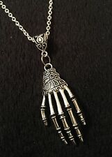 Skeleton Hand Necklace Zombie Rockabilly Bone Silver Steampunk Horror Voodoo *UK