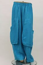 LA BASS ITALIAN WASHED LINEN PLUS SUMMER BALLOON POCKET PANT AQUA Sz 2 2X #262