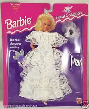 1994 Barbie Bridal Collection 65292-91 Lacy Ruffled Dress Purple Bouquet NIB