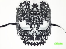 Skull Full Face Black Metal Venetian Masquerade Carnival Womens Mens Hollow Mask