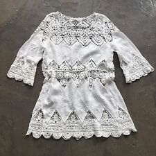 New Anthropologie White Lace Crochet Cut Out Modern Boho Tunic Blouse - Small