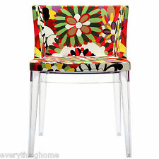 FLORAL FLOWER FABRIC MODERN ACCENT DINING GHOST CHAIR CLEAR ACRYLIC LEGS