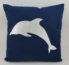"Nautical Embroidered Pillow Cover - Dolphin - 18"" x 18""- Navy - Beach Decor"