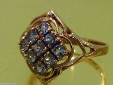 R156- Genuine 9ct Solid Pink / Rose Gold NATURAL TANZANITE Cluster Ring size N