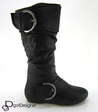 Womens Shoes Combat Boots Military Motorcycle Mid Calf Flat Heel Buckles Zipper