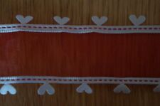 1m Wire Edged Everyday Ribbon. Red With White Heart Edging