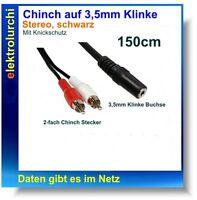 Cinch-Stecker 2-fach auf Klinke Buchse 3,5mm,Stereo, Audio Kabel,150cm, 1Stück