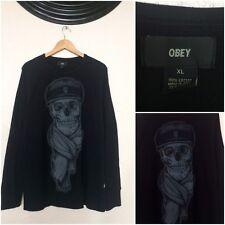 NEW! Obey Black SKELETON Sweatshirt 100% Cotton Size Men's XL