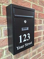 Post box with door number and street name