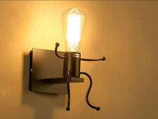 VINTAGE ANTIQUE INDUSTRIAL WALL LIGHT RUSTIC WALL SCONCE LAMP MAN SHAPE FIXTURE