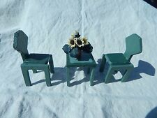 Vintage Handmade Dollhouse Miniature Table and Set Chairs Endtable Wooden Green