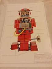 """Imprimer #1 robot japon classic tin toy space 17""""x11"""" ray gun pompier f d 1955 mint"""