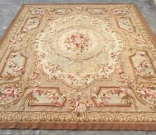 Old Handmade French Design Original Wool Aubusson Rug Tapestry 239 X 290 Cm