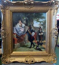 Garden Romance dogs portrait Victorian era Oil Painting estate antique art
