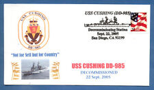GREYTCOVERS NAVAL COVER USS CUSHING DD-985 DECOMMISSIONING 22 SEPT 2005