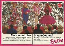 X9495 BARBIE - Alta Moda si dice Haute Couture! - Pubblicità 1989 - Advertising