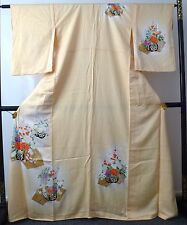 Authentic handmade Japanese yellow silk kimono for women, long, good c.  (I398)