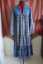 Vintage 70s purple paisley floral boho bohemian hippy Indian cotton dress 6-8