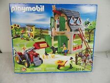 PLAYMOBIL 203 PIECE FARM SET #5961 TRACTOR FAMILY HORSES CHICKENS BARN NIB