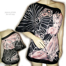 Womens Multi Color BLACK PINK WHITE Pattern ONE SHOULDER Batwing Bat Wing TOP XS