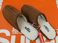 SUPERDRY Slipper Leather Mule Heel-Less Size L Luxury Brown Suede Slippers BNWT