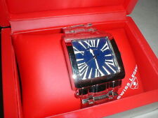 AMAZING Swiss Legend Men's Wristwatch Gift Box Stainless Bracelet Square Face
