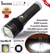 Focus 6000Lumen 5 Modes CREE XM-L2 T6 LED 18650 Battery Flashlight Focus Lamp