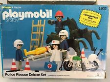 Vintage Playmobil Police Rescue Deluxe Set 1980 Some Missing But Many Extra Pcs