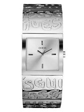 NEW AUTHENTIC GUESS Watch, WomenGraffiti Silvertone Bangle Bracelet U85105L1