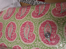 "Pink & Green Henna Paisley Amy Butler Cotton Fabric 44"" x 1 Yard"
