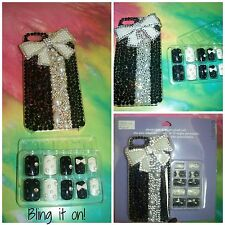 NWT Blinged Out Bowtie iPhone 5 Cute Case with Matching 10 Blinged Out Nail Set