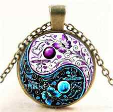 Vintage Ying Yang Butterfly Cabochon Glass Bronze Chain Pendant  Necklace#1094