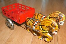 VINTAGE MARX SUPER HORSE & CART CLOCKWORK 100% ORIGINAL RARE TINPLATE TOY WORKS