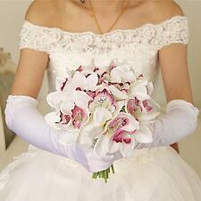 Artificial Flowers 12 Head Silk Orchids Bush Wedding Bridal Bouquet White