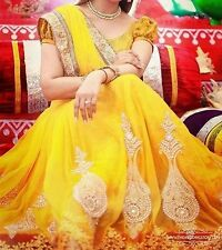 Bollywood Designer Party Wear Bridal Yellow Color Lehenga Saree