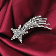 Silver Twinkling Shooting Star Comet Brooch Pin Use Austria Crystal - 7cm Long