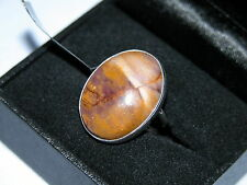 LOT 204 STUNNING LARGE OVAL MOOKAITE SOLID STERLING SILVER RING SIZE J 1/2