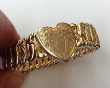VINTAGE ART DECO WWII AMERICAN QUEEN STERLING BASE SWEETHEART EXPANSION BRACELET