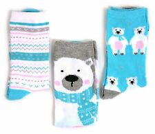 LADIES 3 PAIRS POLAR BEAR CUTE SOCKS FOR CHRISTMAS ONE SIZE