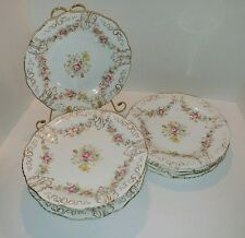 VINTAGE SET OF DISHES - pink & yellow floral with gold accent very old, unmarked