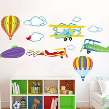 Removable Balloon Airplane Wall Stickers Children Kids Boys Bedroom Decal Art
