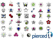 20 TINY NOSE BONE STUD RINGS ASSORTMENT STERLING SILVER & GEMS + *FREE CASE* 22g