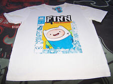 Adventure Time Mens Finn The Human White Printed T Shirt Size L New