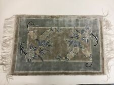 Vintage Chinese Silk Hand Woven Rug 2'x3' steel blues