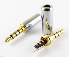 4 Pole 3.5mm Male Repair headphone TRRS Plug Metal Audio Soldering Gold Platted.