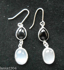 Hallmarked Sterling Silver Sri Lankan Moonstone Onyx Drop Earrings (E20/5) (NEW)