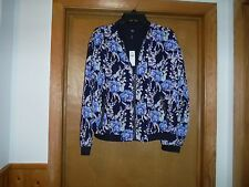 Long Sleeve lined Jacket MD GAP Dark Navy Blue & Multi Floral 100% polyester NW